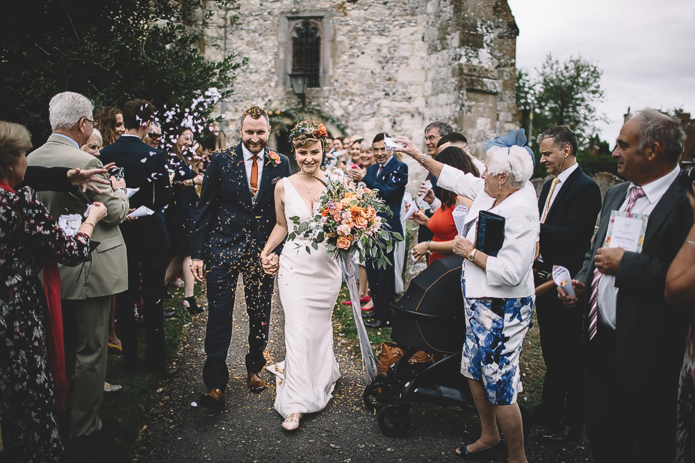 Confetti Throw Gilbert Whites House Barn Wedding Carrie Lavers Photography