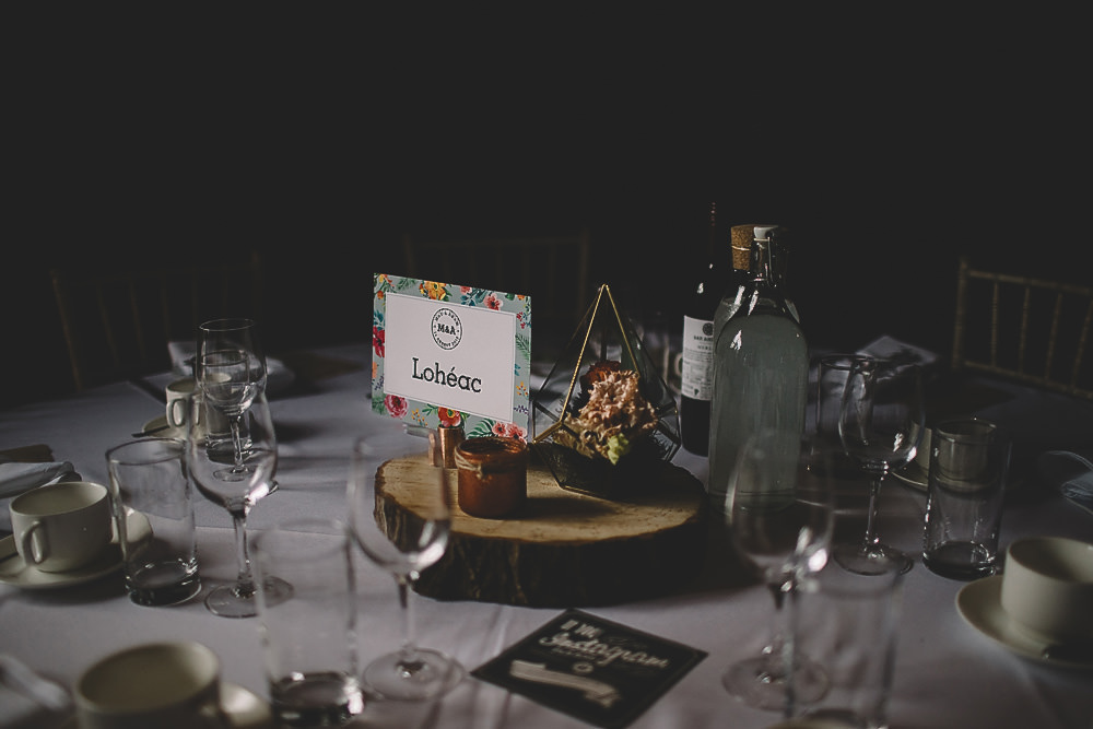 Table Centrepiece Terrarium Log Slice Decor Gilbert Whites House Barn Wedding Carrie Lavers Photography
