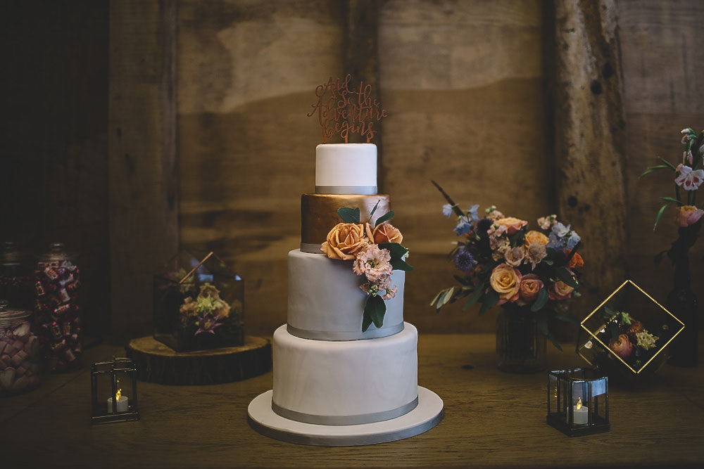 Cake Copper Grey White Marble Florals Flowers Gilbert Whites House Barn Wedding Carrie Lavers Photography