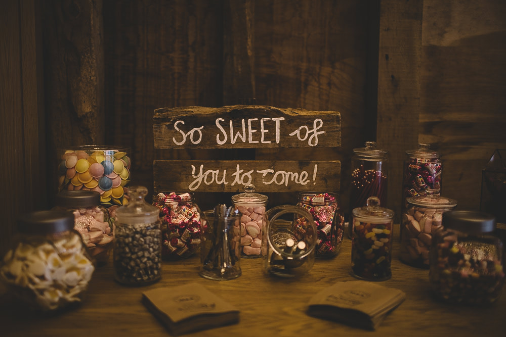Sweets Swetie Table Station Bar Gilbert Whites House Barn Wedding Carrie Lavers Photography