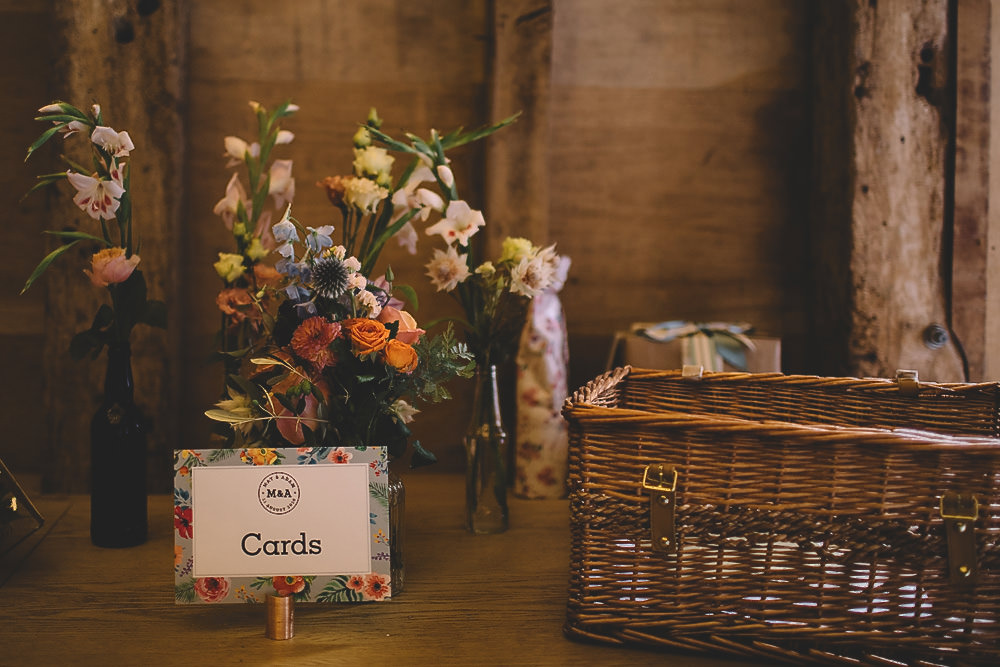 Card Box Hamper Basket Table Gilbert Whites House Barn Wedding Carrie Lavers Photography