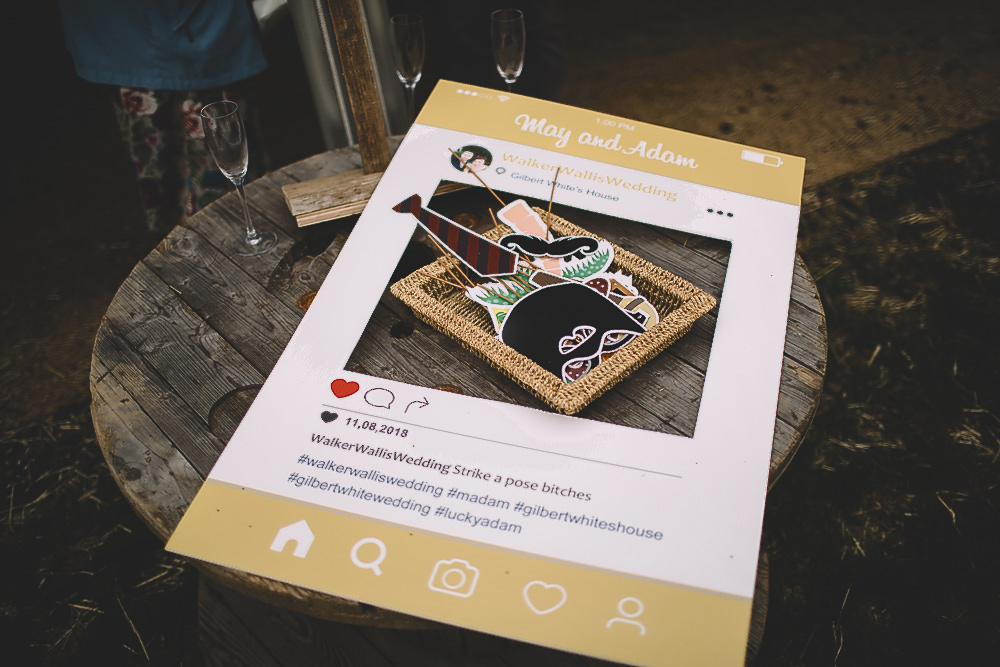 Instagram Photobooth Sign Board Cut Out Gilbert Whites House Barn Wedding Carrie Lavers Photography
