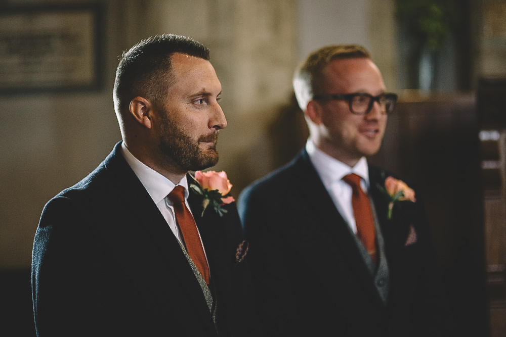 Groom Groomsmen Suit Blue Tweed Burnt Orange Tie Gilbert Whites House Barn Wedding Carrie Lavers Photography