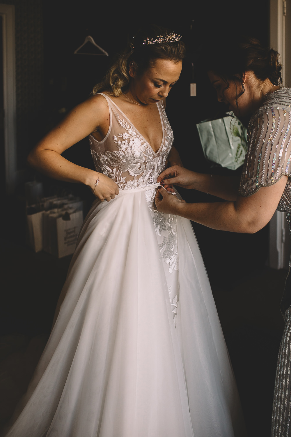 Dress Gown Bride Bridal Made With Love Embroidered Floral Tulle Skirt Straps Train Hampton Manor Wedding Carrie Lavers Photography