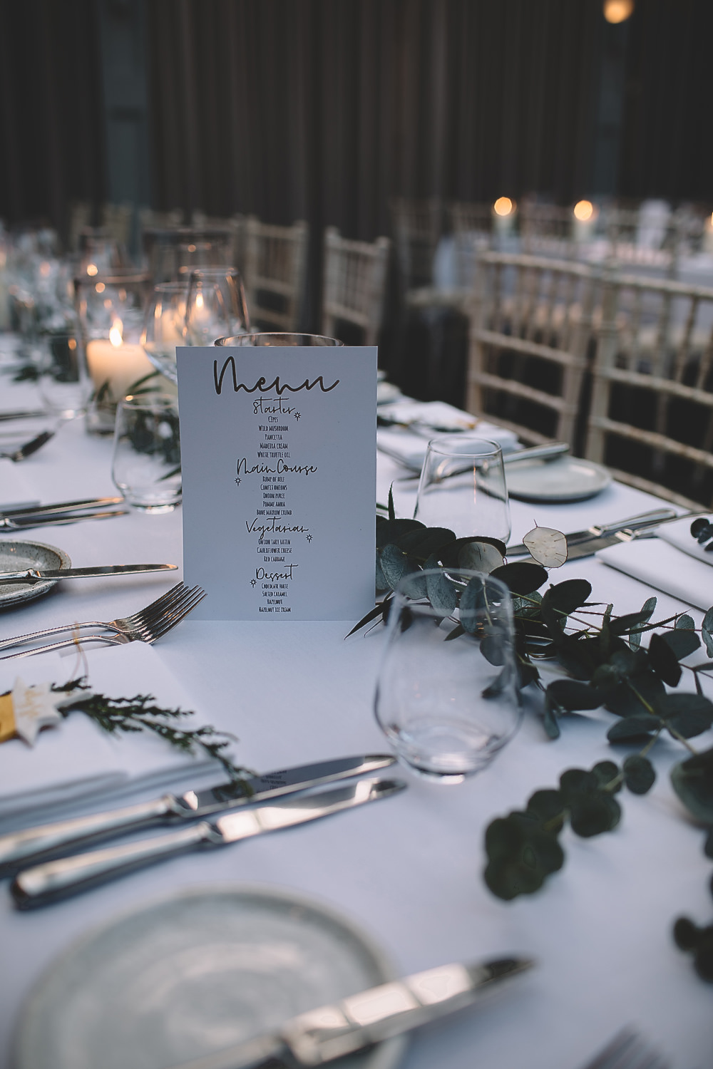 Table Tablescape Decor Greenery Foliage Garland Swag Long Hampton Manor Wedding Carrie Lavers Photography