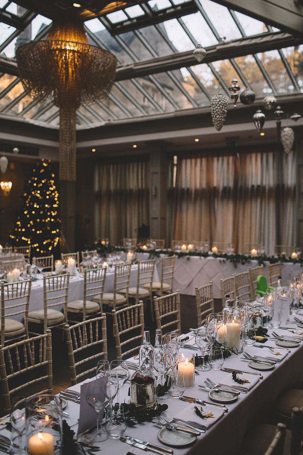 Table Tablescape Decor Greenery Foliage Garland Swag Long Christmas Tree Hampton Manor Wedding Carrie Lavers Photography