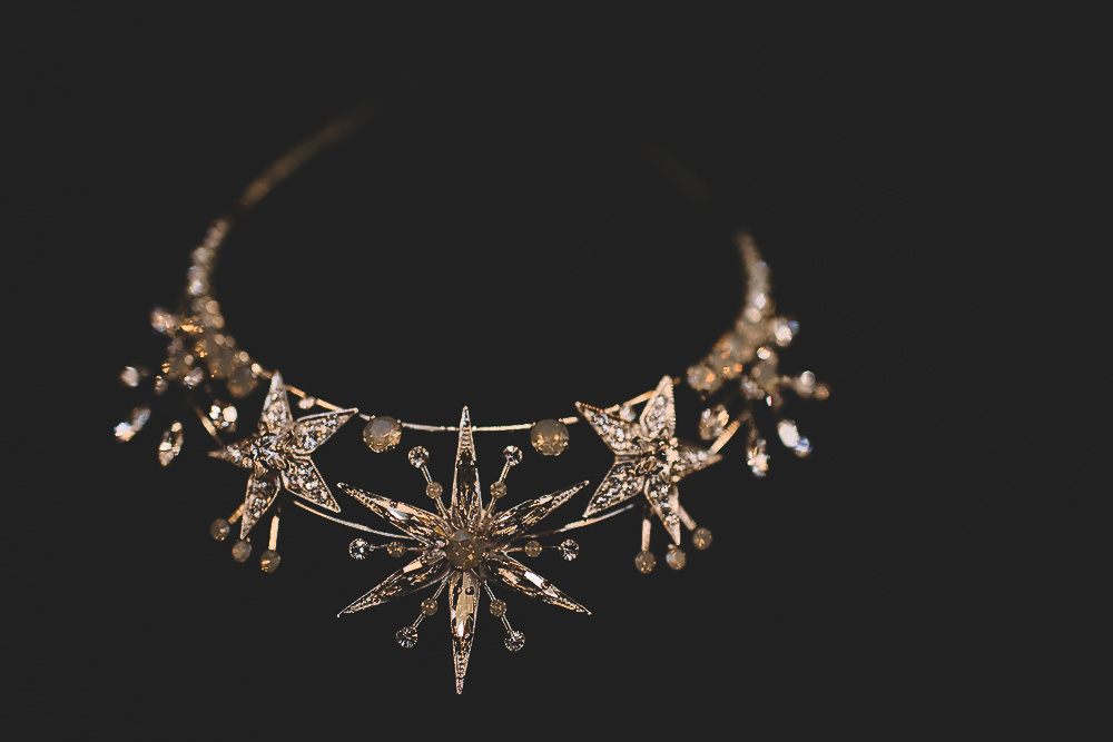 Hair Accessory Star Celestial Bride Bridal Gold Crown Hampton Manor Wedding Carrie Lavers Photography