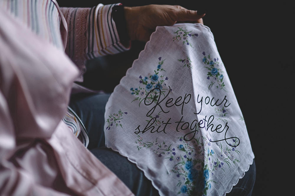 Handkerchief Embroidered Hampton Manor Wedding Carrie Lavers Photography