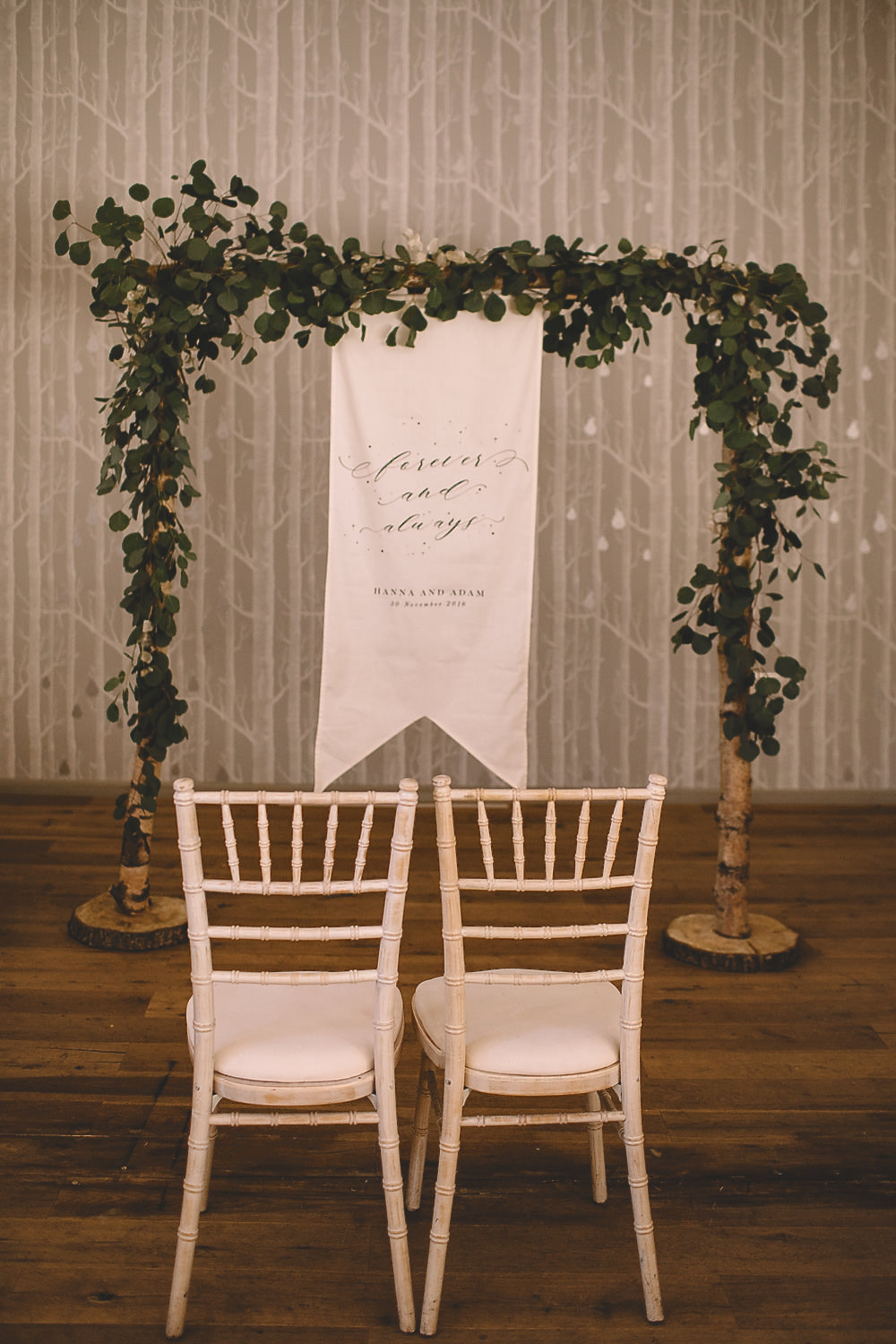 Ceremony Aisle Greenery Foliage Arrch Backdrop Banner Hampton Manor Wedding Carrie Lavers Photography