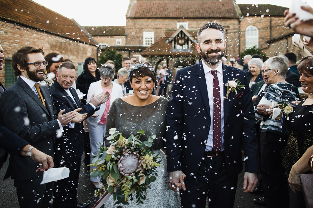 Bride Bridal Tea Length Short Skirt Jumper Leaf Headpiece Navy Suit Groom Bouquet Confetti Hornington Manor Wedding Chris Barber Photography