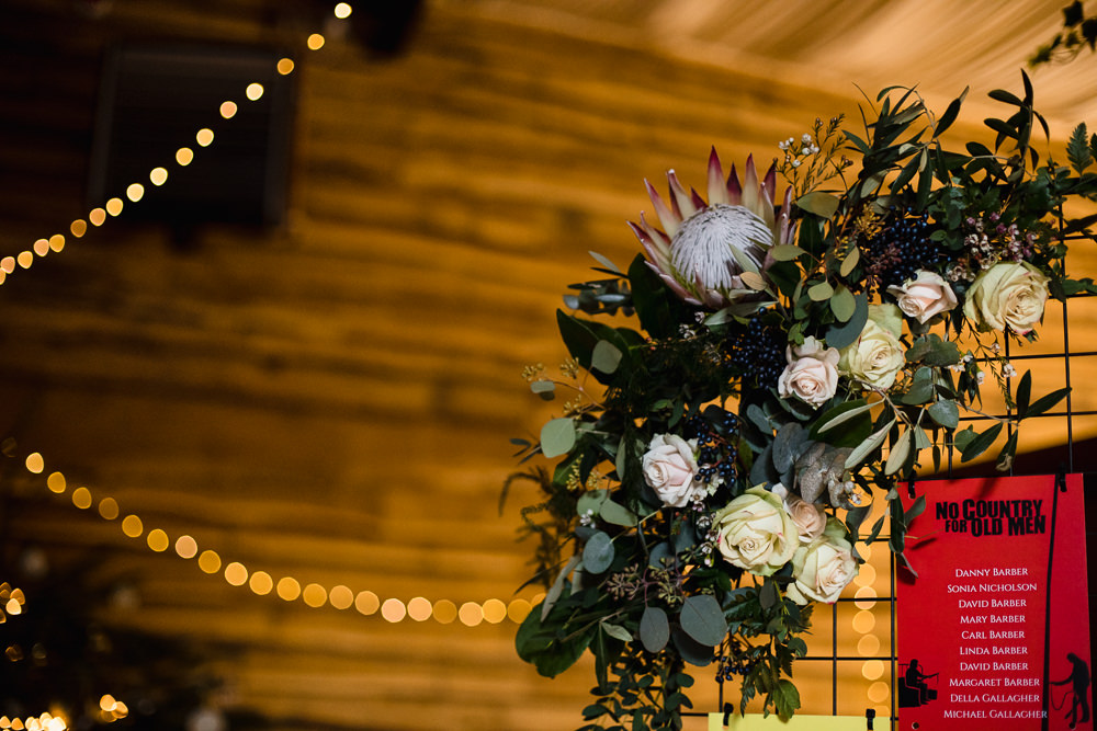 Mesh Table Plan Floral Flowers King Protea Rose Hornington Manor Wedding Chris Barber Photography