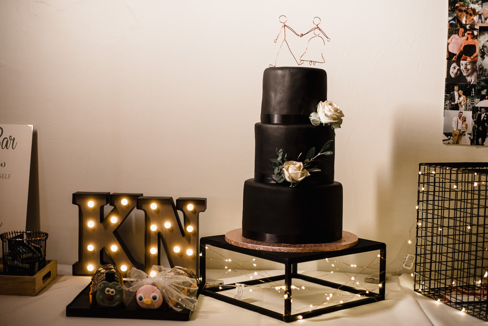 Black Matt Cake Wire Topper Circus Light Letter Hornington Manor Wedding Chris Barber Photography
