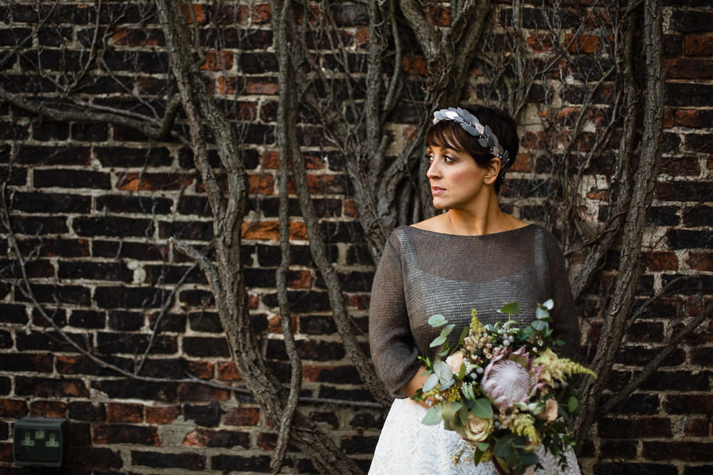 Bride Bridal Tea Length Short Skirt Jumper Leaf Headpiece Bouquet King Protea Hornington Manor Wedding Chris Barber Photography