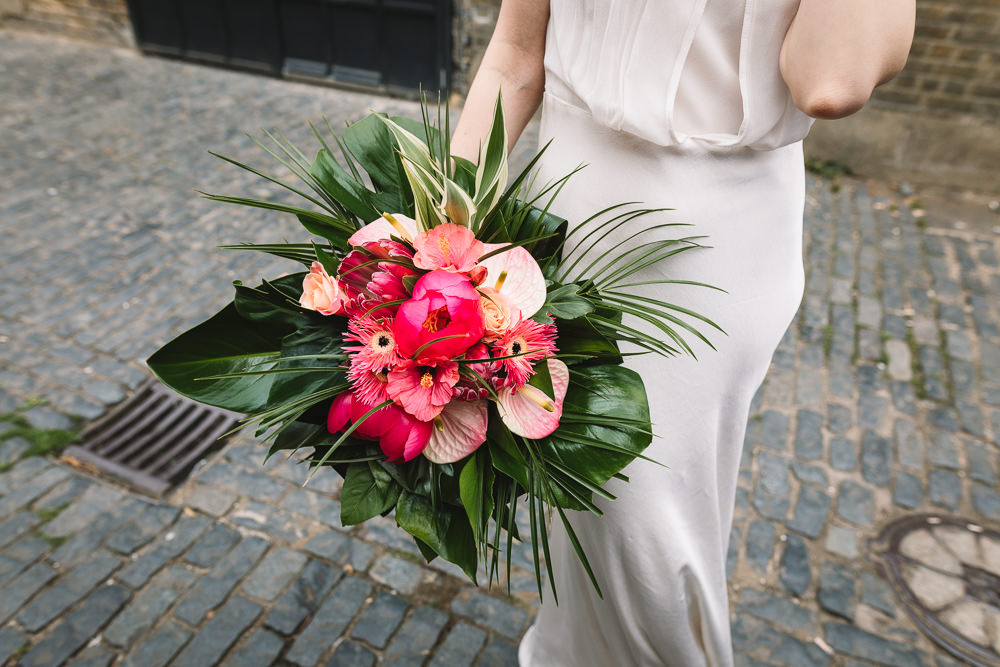 Bride Bridal Tropical Bouquet Clapton Country Club Wedding Kate Jackson Photography