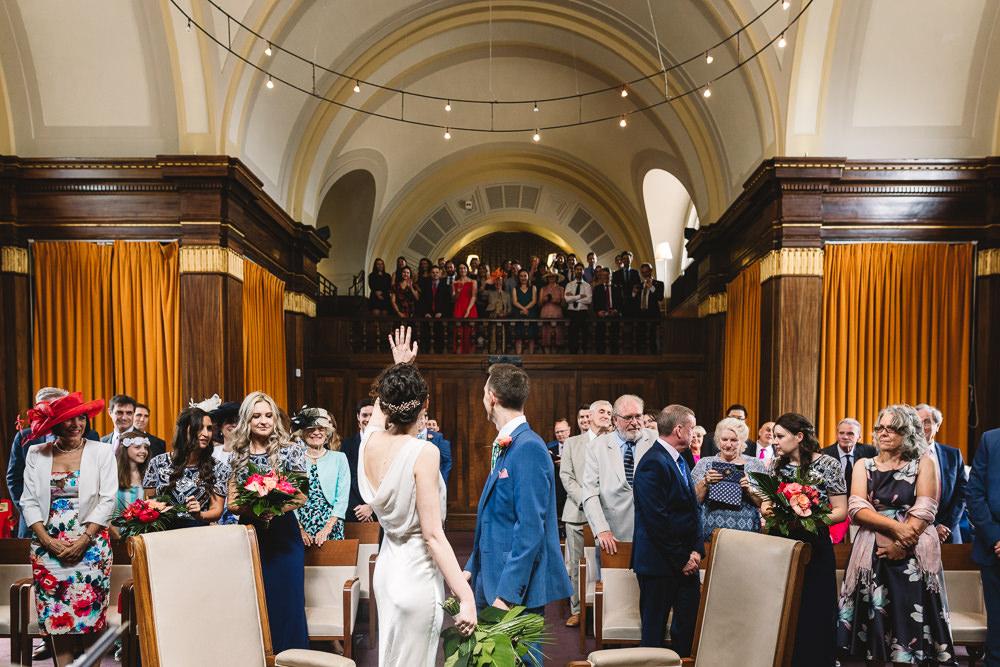 Bride Bridal Dress Gown Bias Cut Art Deco Cowl Back Three Piece Blue Suit Groom Clapton Country Club Wedding Kate Jackson Photography