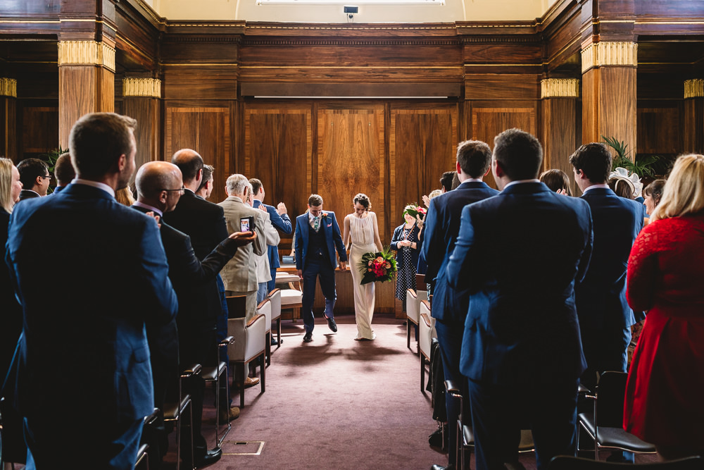 Bride Bridal Dress Gown Bias Cut Art Deco Three Piece Blue Suit Groom Clapton Country Club Wedding Kate Jackson Photography