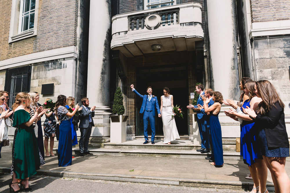 Bride Bridal Dress Gown Bias Cut Art Deco Three Piece Blue Suit Groom Clapton Country Club Wedding Kate Jackson Photography