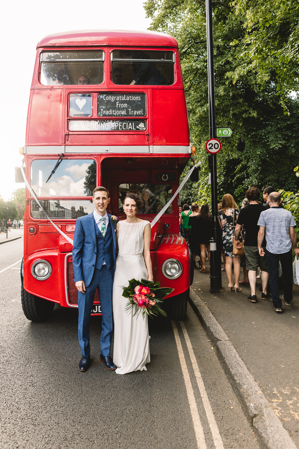 Bride Bridal Dress Gown Bias Cut Art Deco Three Piece Blue Suit Groom Tropical Bouquet Vintage Routemaster Bus Clapton Country Club Wedding Kate Jackson Photography
