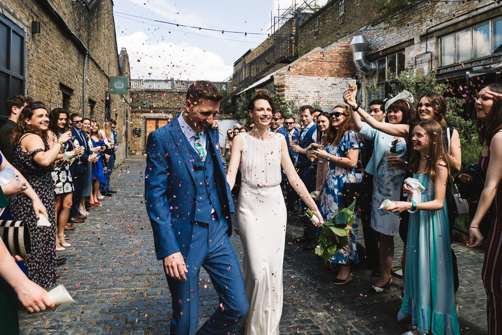 Bride Bridal Dress Gown Bias Cut Art Deco Three Piece Blue Suit Confetti Clapton Country Club Wedding Kate Jackson Photography