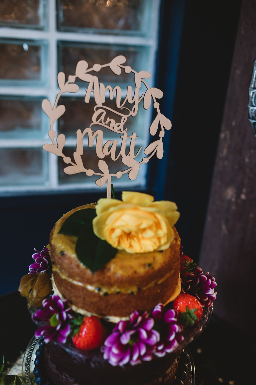 Wooden Laser Cut Cake Topper Naked Wreath Clapton Country Club Wedding Kate Jackson Photography