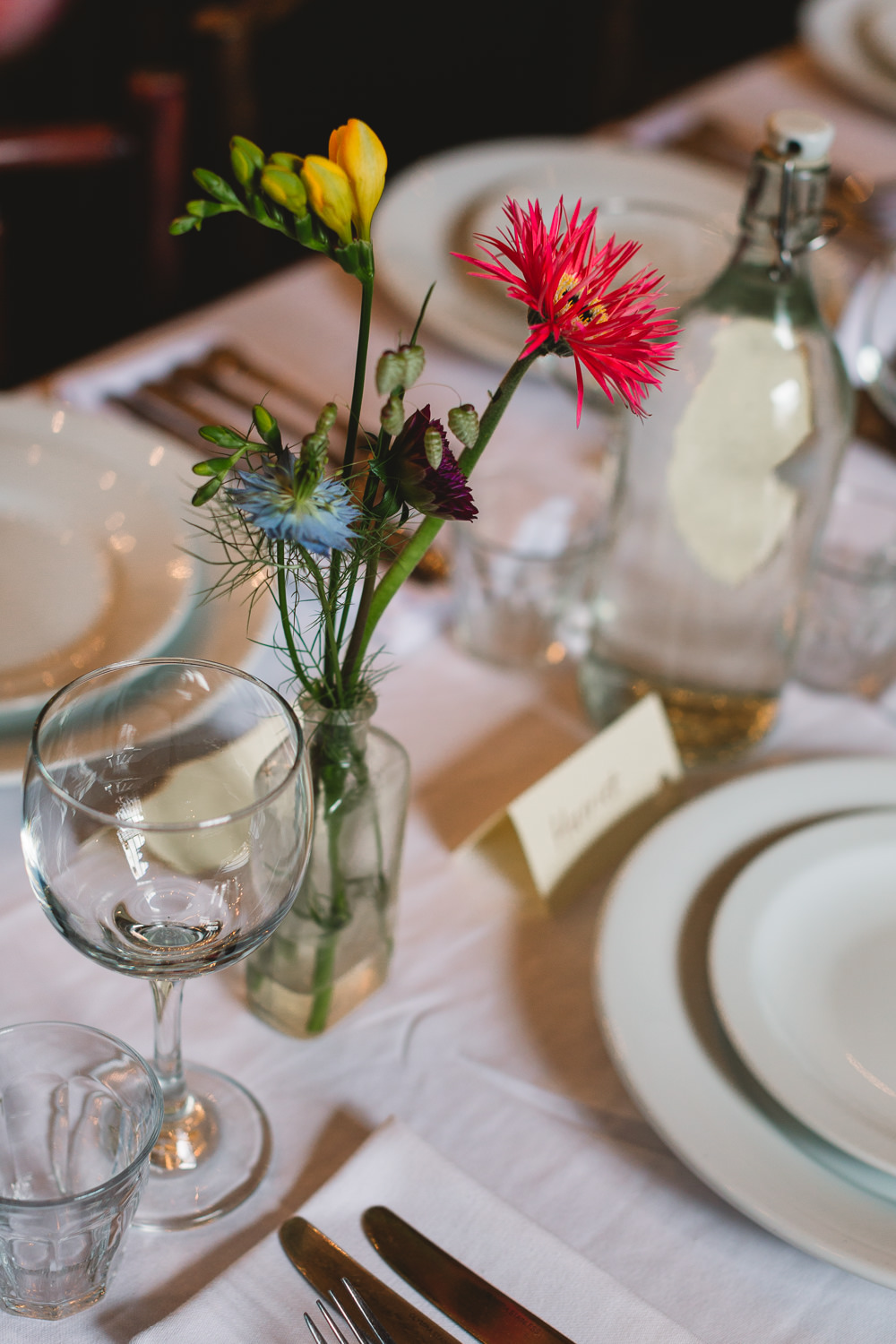 Bottle Bud Vase Flowers Floral Clapton Country Club Wedding Kate Jackson Photography