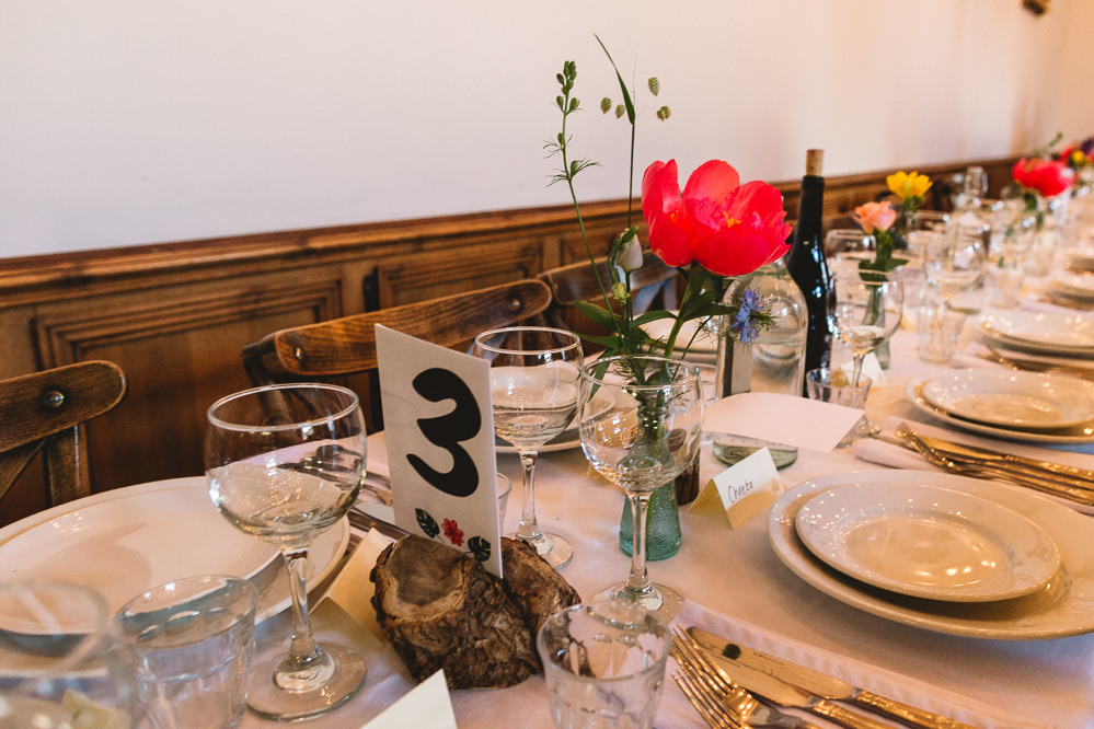 Wood Slice Table Number Bud Vase Florals Clapton Country Club Wedding Kate Jackson Photography