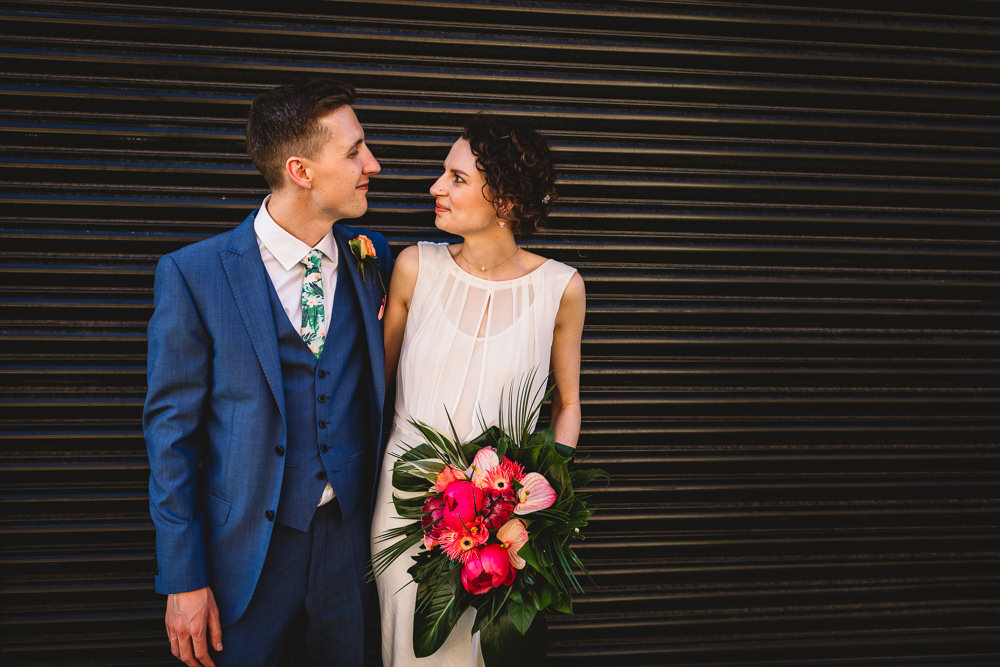 Bride Bridal Dress Gown Bias Cut Art Deco Three Piece Blue Suit Groom Tropical Bouquet Clapton Country Club Wedding Kate Jackson Photography