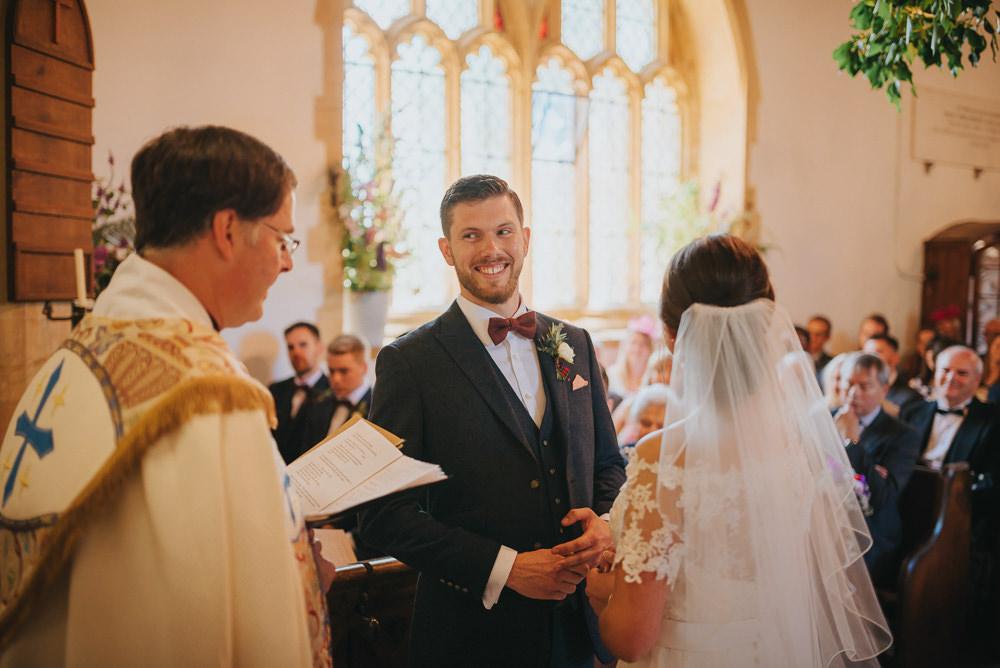 Navy Suit Groom Burgundy Oxblood Bow Tie Veil Bride Bridal Kittisford Barton Wedding Joab Smith Photography