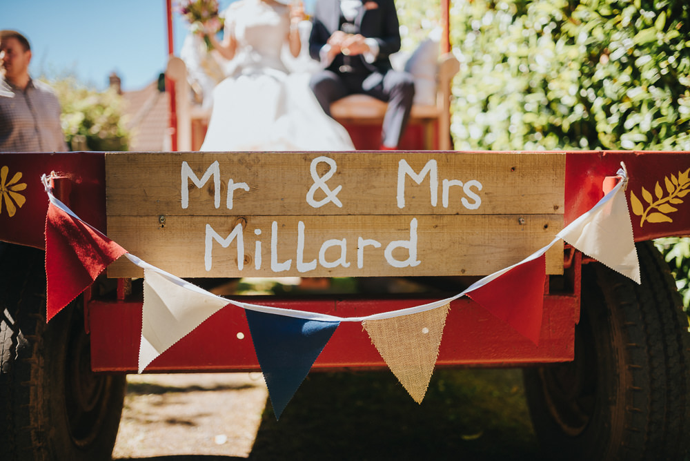 Mr & Mrs Sign Tractor Bunting Kittisford Barton Wedding Joab Smith Photography