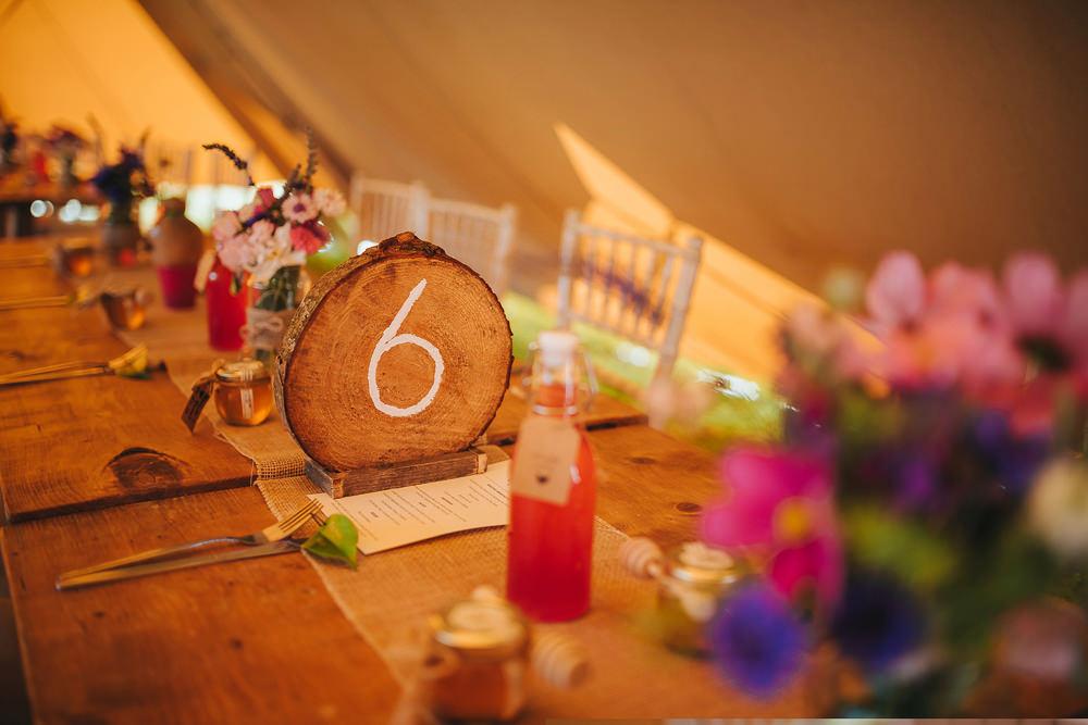 Log Wood Slice Table Number Tipi Kittisford Barton Wedding Joab Smith Photography