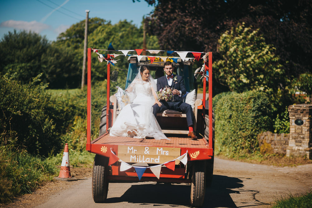 Bride Bridal Dress Gown Sweetheart Bolero Off Shoulder Lace Navy Suit Groom Burgundy Oxblood Bow Tie Bunting Tractor Trailer Kittisford Barton Wedding Joab Smith Photography