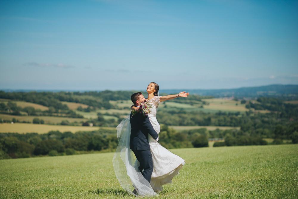Bride Bridal Sassi Holford Trumpet Dress Gown Navy Suit Groom Kittisford Barton Wedding Joab Smith Photography