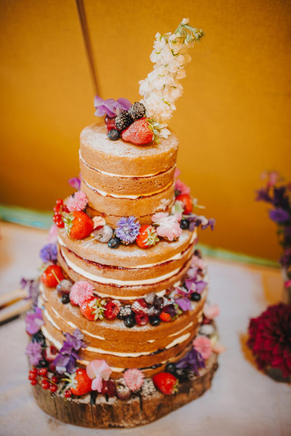 Naked Cake Fruit Flowers Wood Slice Kittisford Barton Wedding Joab Smith Photography