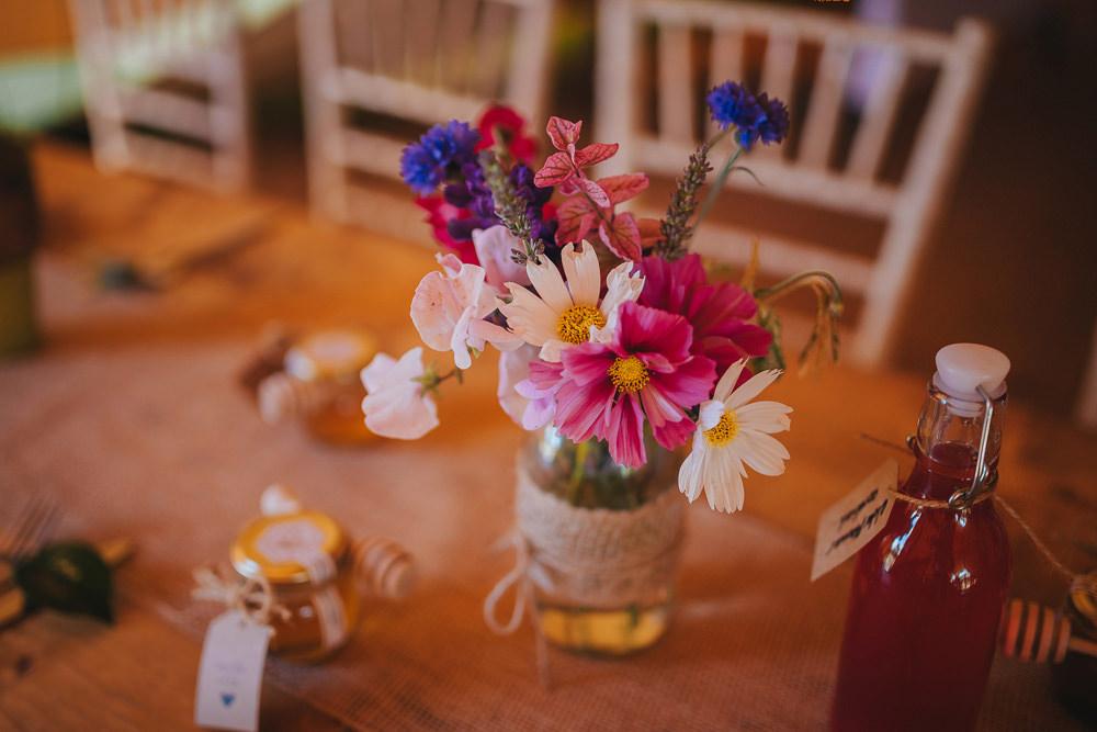 Jam Jar Lace Floral Flowers Hessian Kittisford Barton Wedding Joab Smith Photography