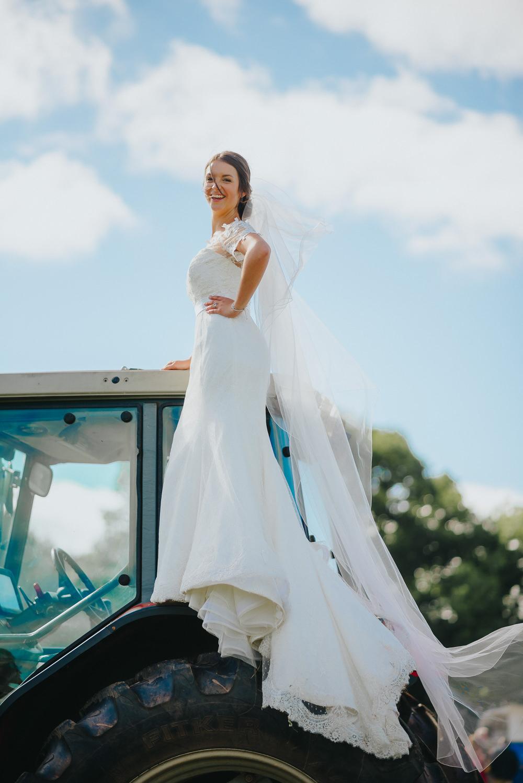 Bride Bridal Dress Gown Sweetheart Bolero Off Shoulder Lace Tractor Kittisford Barton Wedding Joab Smith Photography