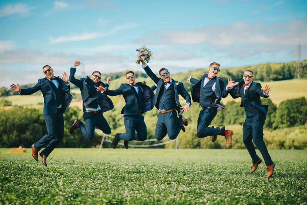 Groomsmen Navy Suit Groom Burgundy Oxblood Bow Tie Kittisford Barton Wedding Joab Smith Photography