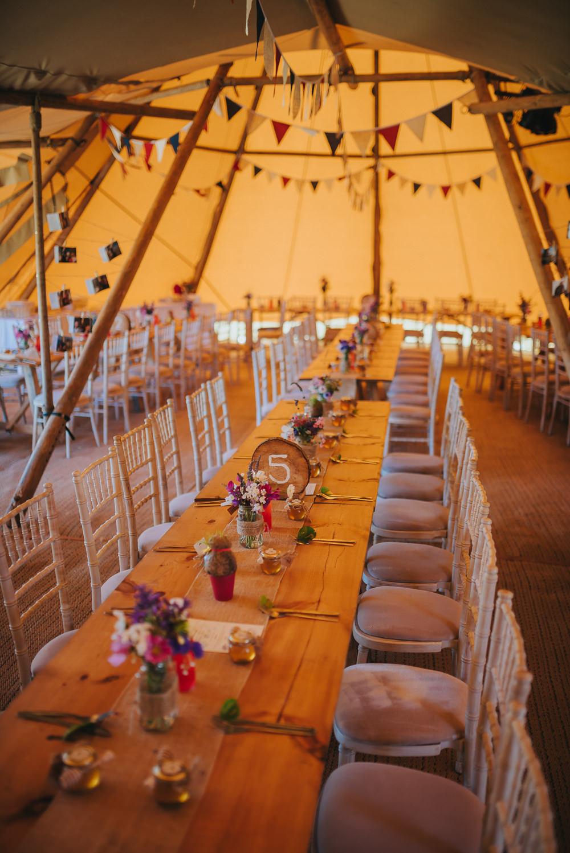 Tipi Bunting Kittisford Barton Wedding Joab Smith Photography