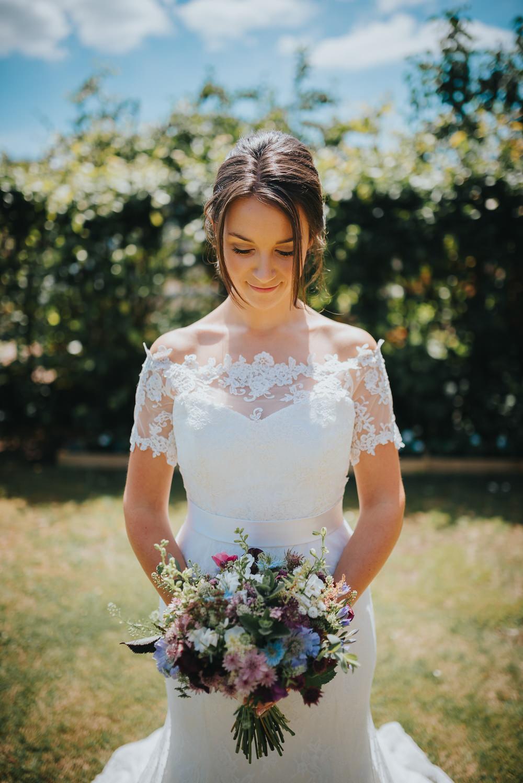 Bride Bridal Dress Gown Sweetheart Bolero Off Shoulder Lace Kittisford Barton Wedding Joab Smith Photography