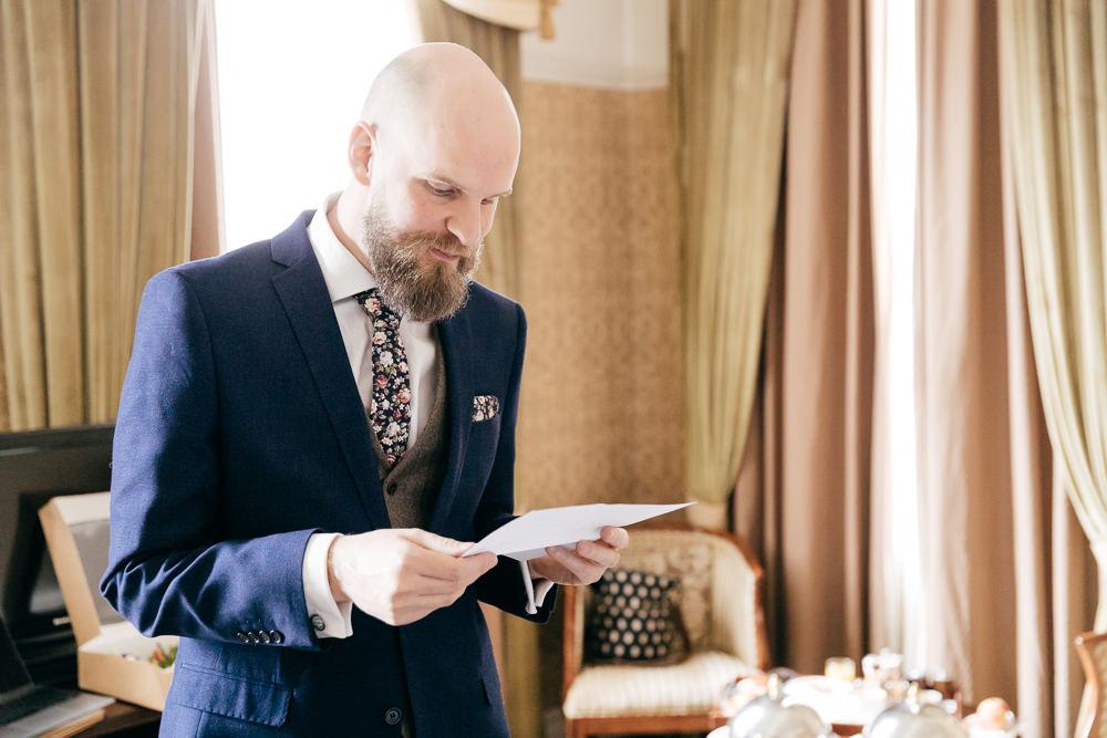 Three Piece Suit Groom Navy Tweed Waistcoat Left Bank Leeds Wedding Amber Marie Photography