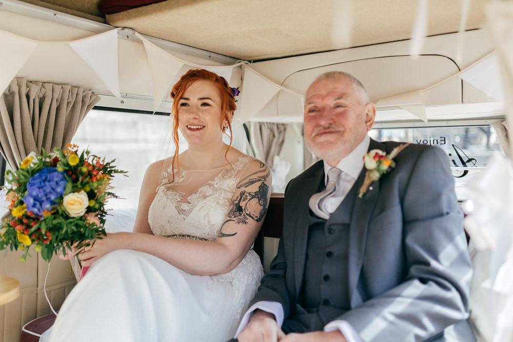 Bride Bridal Sweetheart Neckline Overlay Lace Bouquet VW Campervan Left Bank Leeds Wedding Amber Marie Photography