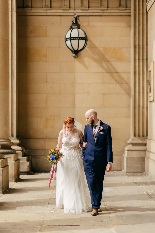 Bride Bridal Sweetheart Overlay Dress Navy Suit Groom Tweed Waistcoat Multicolour Flowers Bouquet Ribbon Left Bank Leeds Wedding Amber Marie Photography
