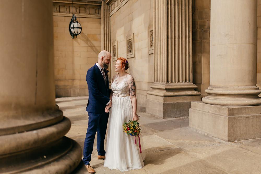 Bride Bridal Sweetheart Overlay Dress Navy Suit Groom Tweed Waistcoat Multicoloured Bouquet Veil Left Bank Leeds Wedding Amber Marie Photography