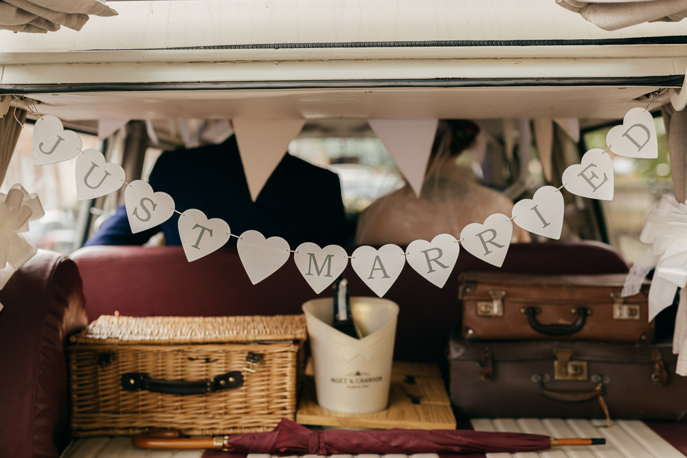 Just Married Bunting VW Campervan Left Bank Leeds Wedding Amber Marie Photography