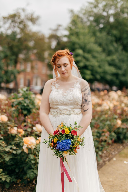 Bride Bridal Sweetheart Overlay Dress Multicoloured Bouquet Left Bank Leeds Wedding Amber Marie Photography
