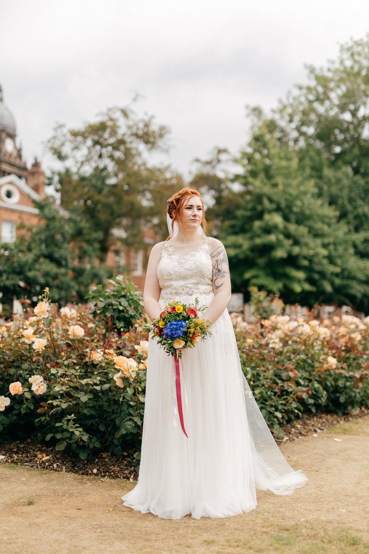 Bride Bridal Sweetheart Overlay Dress Multicoloured Bouquet Ribbon Left Bank Leeds Wedding Amber Marie Photography