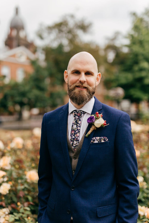 Navy Suit Groom Tweed Waistcoat Floral Tie Pocket Square Rustic Twine Buttonhole Left Bank Leeds Wedding Amber Marie Photography