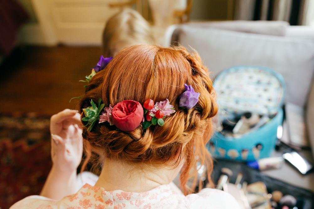 Bride Bridal Halo Braid Plait Flowers Left Bank Leeds Wedding Amber Marie Photography