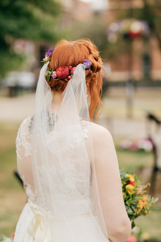 Bride Bridal Halo Braid Plait Flowers Hair Veil Left Bank Leeds Wedding Amber Marie Photography