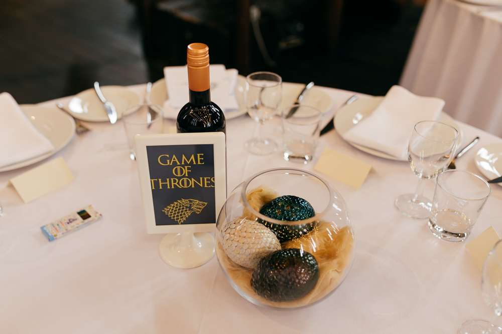 Game of Thrones Fish Bowl Table Centre Left Bank Leeds Wedding Amber Marie Photography