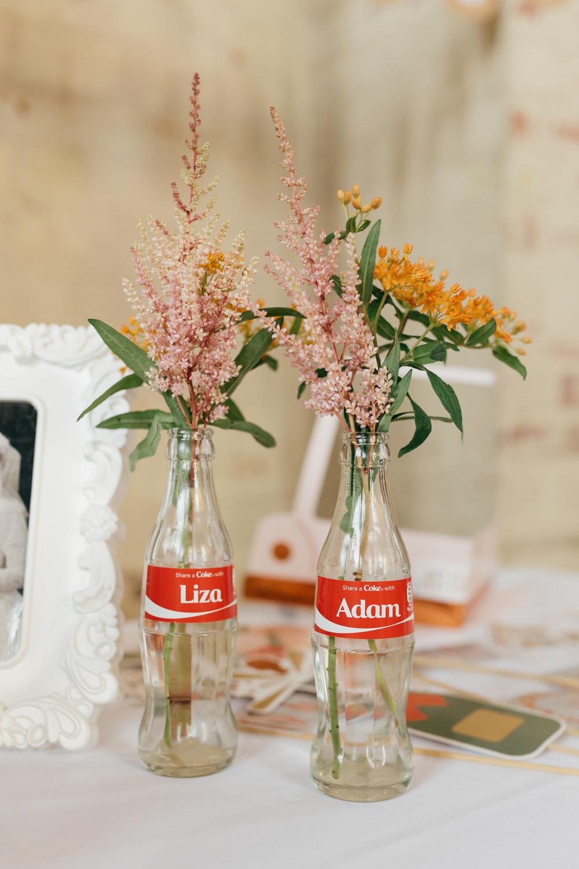 Name Coke Bottle Flower Floral Personalised Left Bank Leeds Wedding Amber Marie Photography